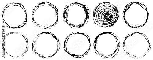 Fotografie, Obraz  Hand drawn scribble grunge circles