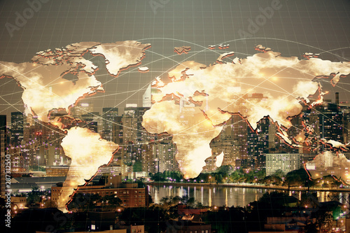 Double exposure of business theme hologram drawing and city veiw background Wallpaper Mural