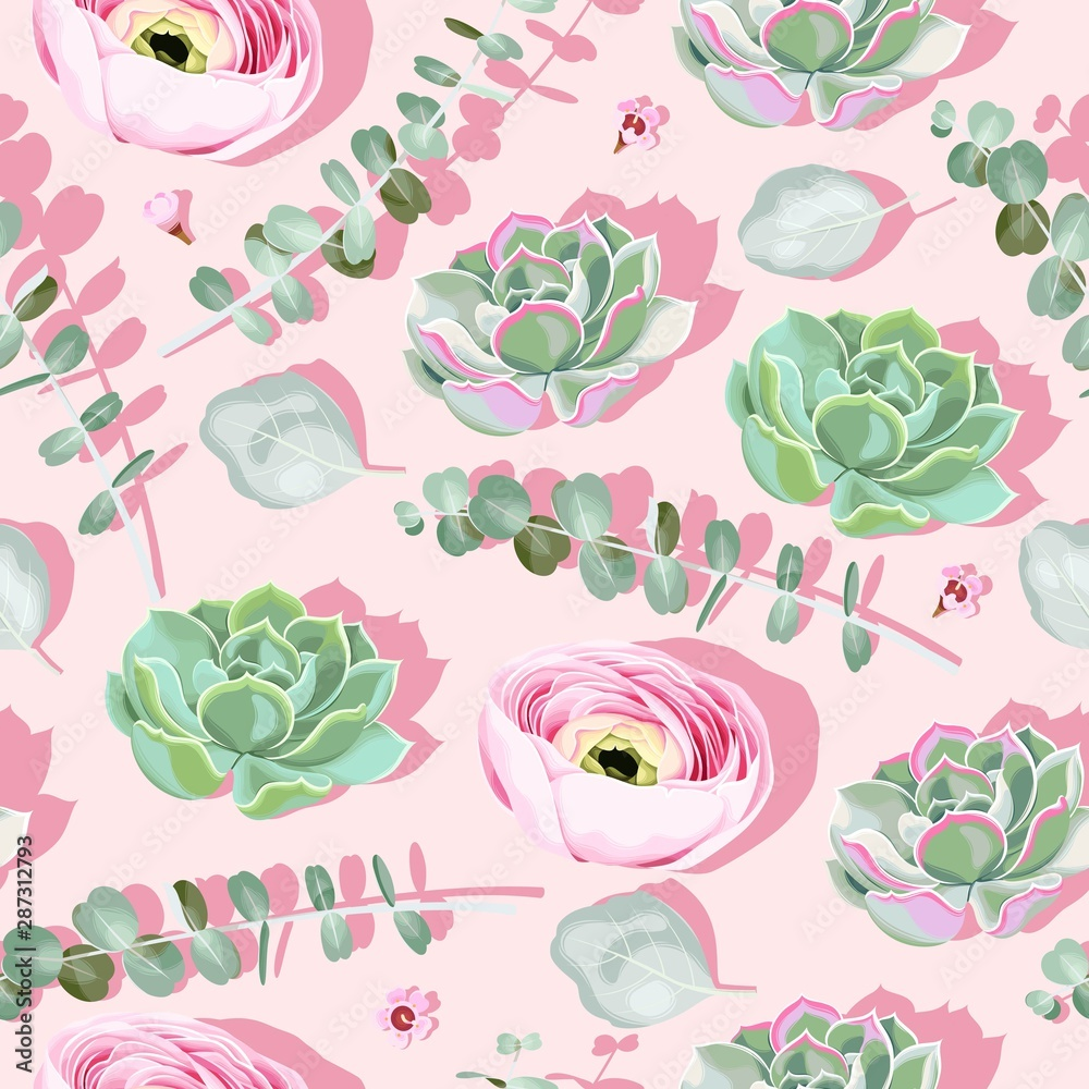 Fototapety, obrazy: Seamless pattern with succulent on pink background