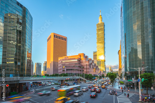 skyline of taipei city with taipei 101 tower in taiwan Canvas Print