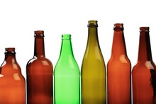 Set Of Empty Beer Bottles On  White Background - Image
