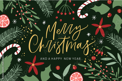 Merry Christmas greeting card with handwritten calligraphy and hand drawn decorative elements Wallpaper Mural