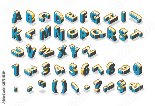 Obraz na plátne Isometric alphabet, numbers and punctuation marks, abc uppercase letters, typography standing and lying in row on white background
