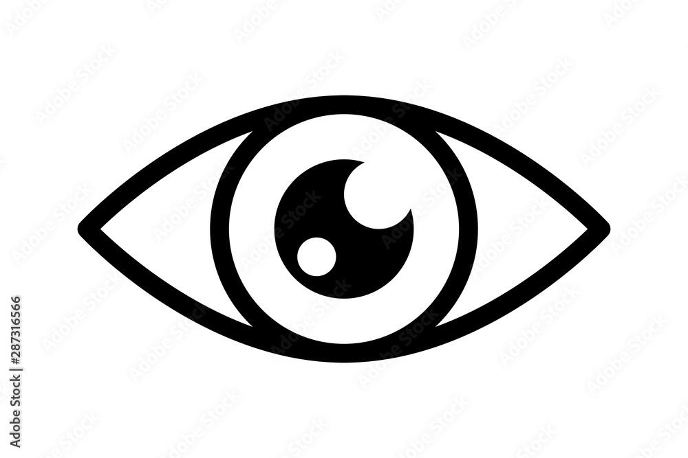 Fototapeta Optical eye black icon. Light vision eyeball image, vector open eyes looking symbol, eyesight or optic medicine illustration, outline look graphic