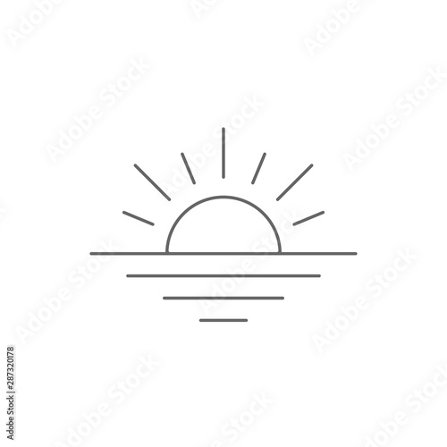 Sunset icon line stile. Vector eps10 Wall mural