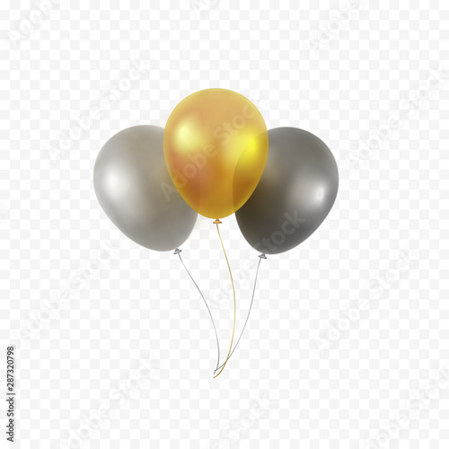 Balloons bunch isolated on transparent background Canvas Print
