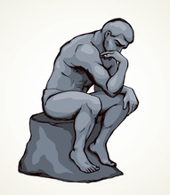 The Statue The Thinker. Vector...