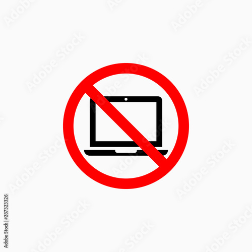 Photo no computer icon, no laptop vector