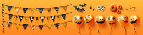 Valokuva  Halloween Holiday Objects and Elements on orange background