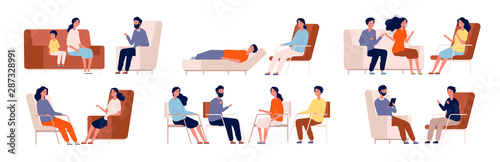 Obraz Psychologist. Group therapy couch talking medical consultant sitting family consulting vector characters. Professional psychotherapy talking, psychology counseling illustration - fototapety do salonu