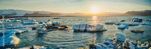 Icebergs on the southern shore of Iceland, glacial lagoon of Jokursarlon Iceland Wallpaper Mural