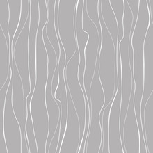Wavy Line Pattern. White Vertical Wavy Lines On Gray Background. Strips Similar To Threads. Hand Drawn Stripes. Hand Painted Improvised White Lines Against Gray Color.