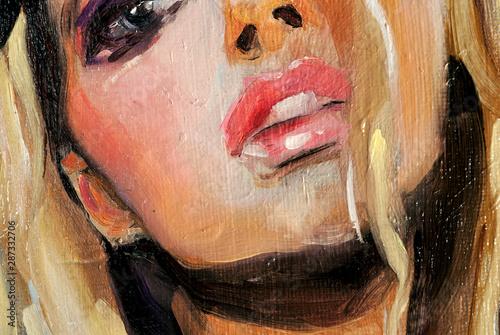 Modern art, beautiful caucasian woman with blue eyes and blonde hair, oil painti Wallpaper Mural