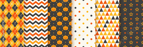 obraz lub plakat Halloween seamless pattern. Haloween background. Vector. Geometric texture with pumpkin face, zig zag, rhombus, polka dots, star and triangle. Holiday wrapping paper. Orange yellow black illustration