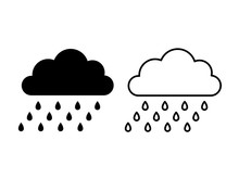 Rain Cloud Icon. Vector. Weather Symbol In Flat Design, Simple, Outline Isolated On White Background. Modern Forecast Storm Sign For Web Site, Button, Mobile App, Logo, App, UI. Cartoon Illustration.