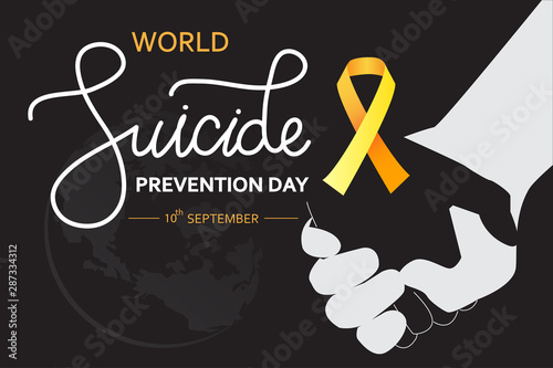 World Suicide Prevention Day concept with awareness ribbon Fototapet