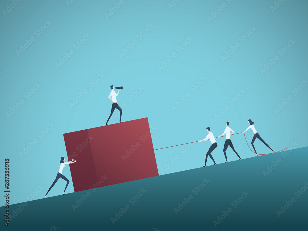 Fototapeta Business teamwork vector concept with manager, leader and team cooperation. Symbol of collaboration and common effort, team success and hard work.