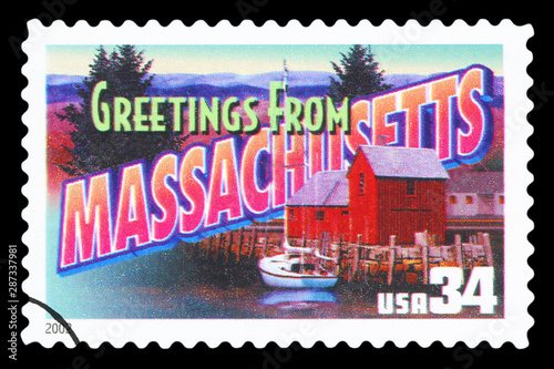 Tela  UNITED STATES OF AMERICA - CIRCA 2002: a postage stamp printed in USA showing an image of the Massachusetts state, circa 2002