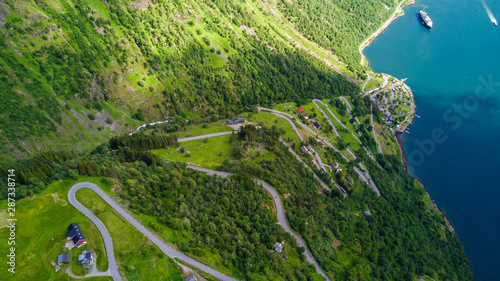 Aerial view of Sunnylvsfjorden fjord canyon, Geiranger village location, western Norway Canvas Print