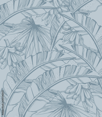 Palm leaves and bananas pattern tropic vector line art. Summer poster exotic decorations