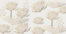 Lotus Pattern Vector Line Art....