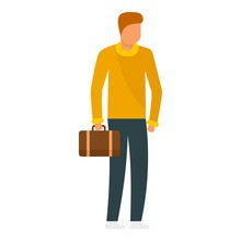 Man With Leather Bag Icon. Flat Illustration Of Man With Leather Bag Vector Icon For Web Design
