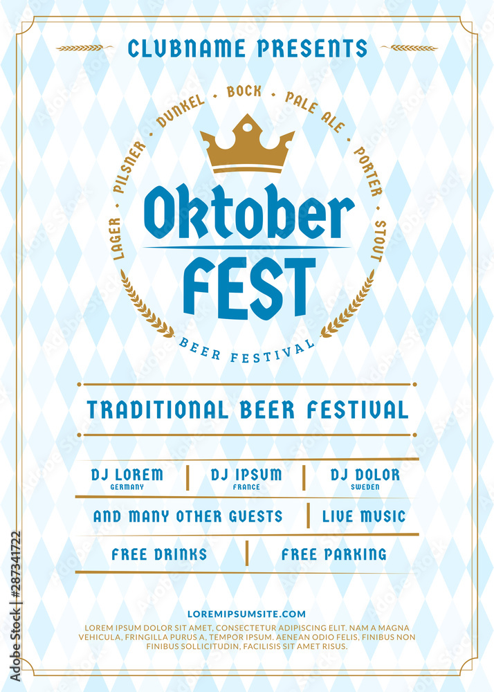 Fototapety, obrazy: Oktoberfest beer festival celebration. Typography poster or flyer template for beer party. Vintage beer label on the traditional Bavarian linen flag background