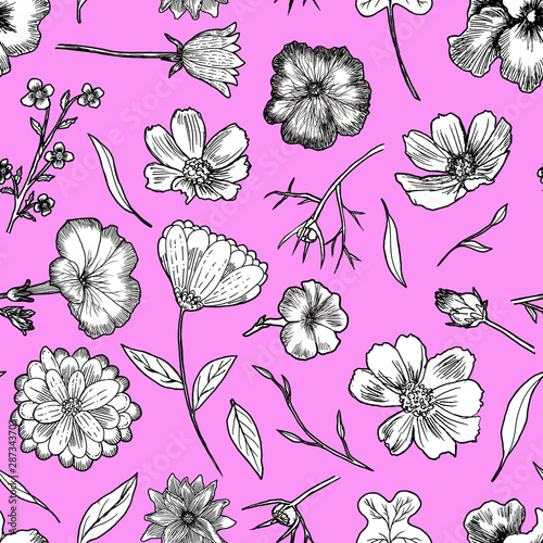 canvas print motiv - Kamila Bay : Floral Seamless Pattern Black and white hand drawn illustration in realistic style. Small graceful plants with black contour isolated on pink. Can be used for invitation cards, banners, flyers.