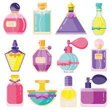 Perfume Toilet Water Bottles In Flat Design