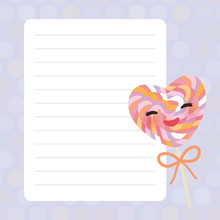 Card Design With Kawaii Heart ...