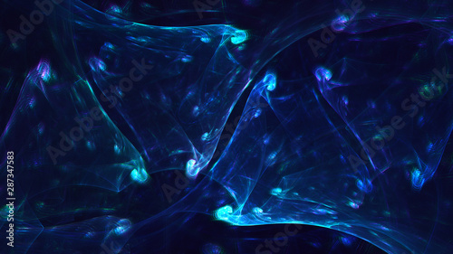 3D rendering multicolored abstract fractal on black background - 287347583