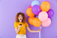 Image Of Happy Young Woman Celebrating Birthday With Multicolored Air Balloons And Piece Of Pie
