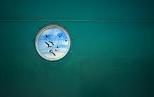 Flying Seagulls Reflection On Porthole Window Surface Of Green Fishing Ship At Harbor