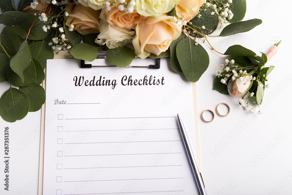 Fototapety, obrazy: Wedding checklist with copy space for text and roses