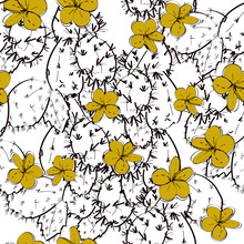 Seamless Pattern Cactus With Flowers Sketch, Gold Mustard Yellow, Black Contour On White Background. Simple Ornament, Can Be Used For Gift Wrap, Fabrics, Wallpapers. Vector