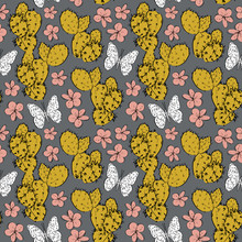 Seamless Pattern Cactus With F...