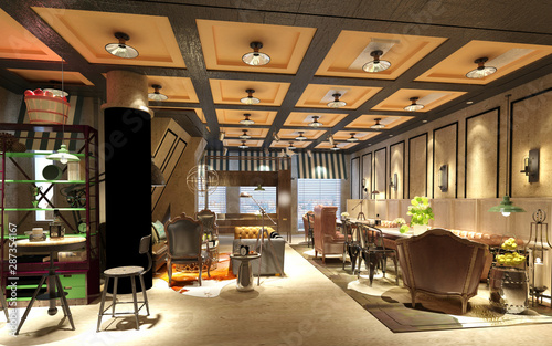 3d render restaurant cafe interior Slika na platnu