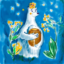 White Polar Bear In Flowers With A Honey Barrel In Its Paws On Blue Night Background For Design, Cover, Print
