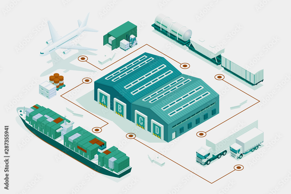 Fototapety, obrazy: Web template banner Global logistics network. Isometric illustration of air cargo trucking rail transportation maritime shipping On-time delivery. Vehicles designed to carry large numbers of cargo.