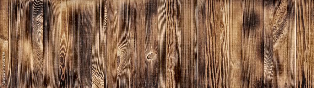 Obraz Wide natural wood board panoramic texture. Widescreen wooden pattern. Long rustic background fototapeta, plakat