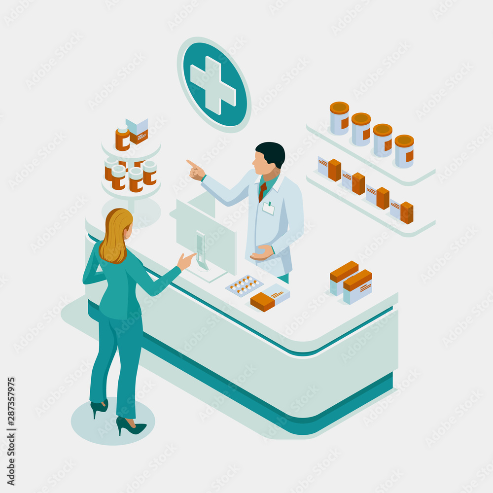 Fototapety, obrazy: Isometric Pharmacy Store and Doctor pharmacist and patient. Woman pharmacist holding prescription checking medicine in the pharmacy. Health Care concept.