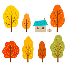 Colorful Autumn Trees With Hou...