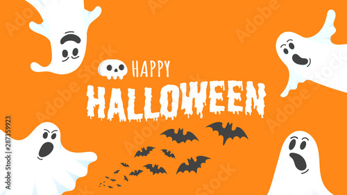 Deurstickers Halloween Happy Halloween text postcard banner with ghosts scary face, human scull and text happy halloween isolated on orange background flat style design.