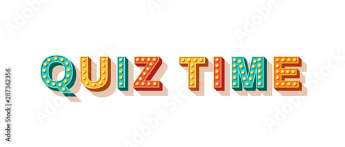 Obraz Quiz time flat vector lettering - fototapety do salonu