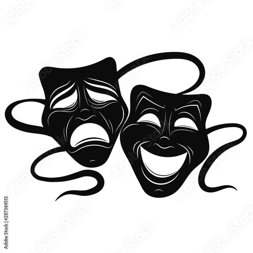Obraz Theatre Masks. Drama and comedy. Illustration for the theater. Tragedy and comedy mask. Black white illustration. Tattoo. - fototapety do salonu