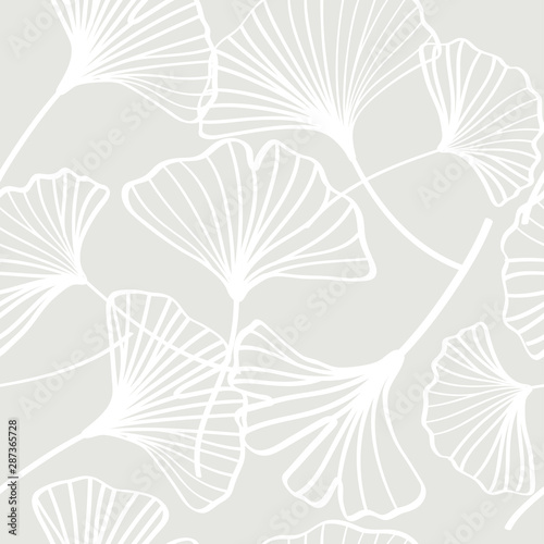 fototapeta na szkło Vector ginkgo leaves seamless pattern, white and gray