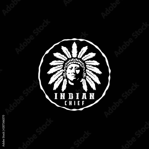 American Native, Indian Chief Logo Canvas Print