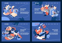 Collection Horizontal Educative Banners About Learning Foreign Languages, Business Formation. Isometric Design Good For Landing Page On Blue Background. Tiny People Reading Large Books