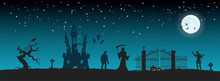 Halloween Banner With Fantasy Silhouettes. Landscape Of Cemetary With Mummy, Death And Frankenstein. Holiday Scene Of October Party.