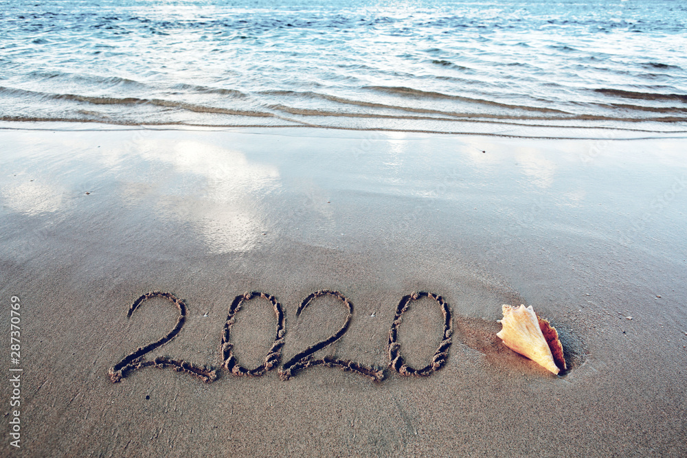 Fototapety, obrazy: New Year 2020 is coming concept on tropical beach.